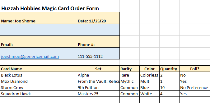 Huzzah Hobbies Sample Magic the Gathering Card Order Form